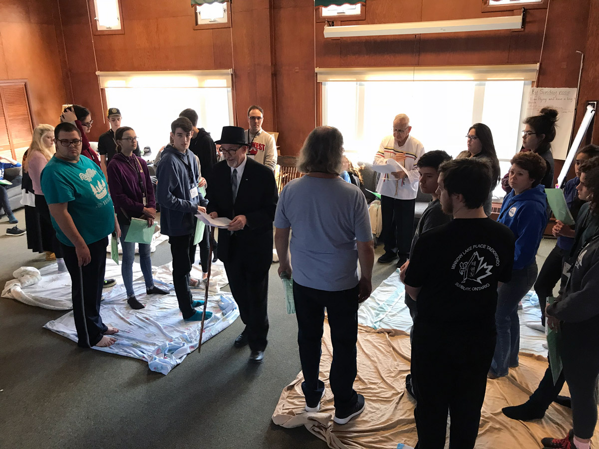 2018 Youth Forum delegates participate in a blanket exercise